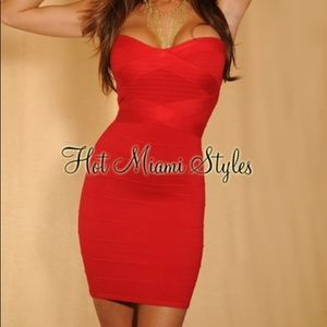 Candy Red Strapless Knit Bandage Dress